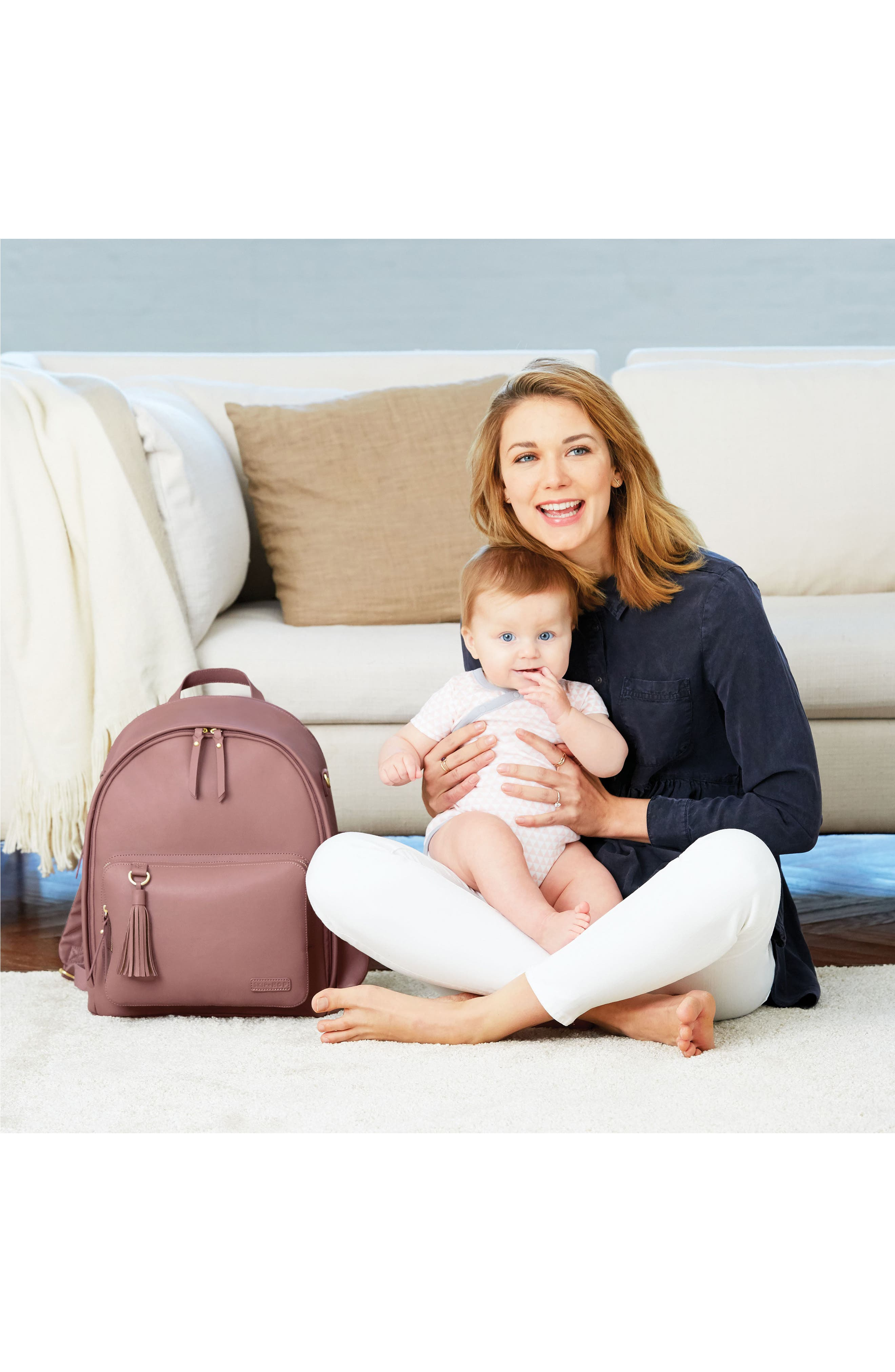 ,                             Greenwich Simply Chic Diaper Backpack,                             Alternate thumbnail 7, color,                             DUSTY ROSE