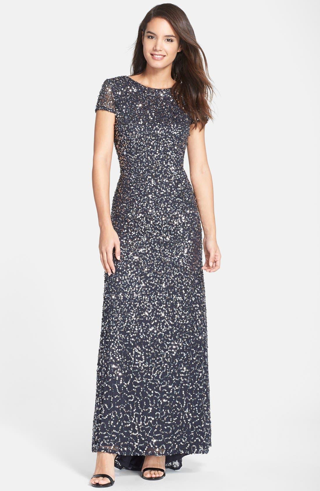 ,                             Short Sleeve Sequin Mesh Gown,                             Main thumbnail 38, color,                             020