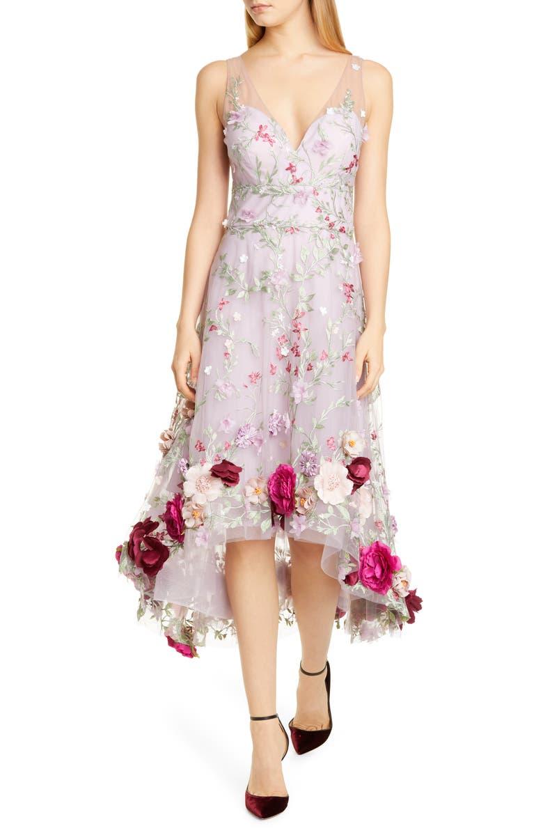 MARCHESA NOTTE Floral Appliqué High/Low Cocktail Dress, Main, color, LILAC
