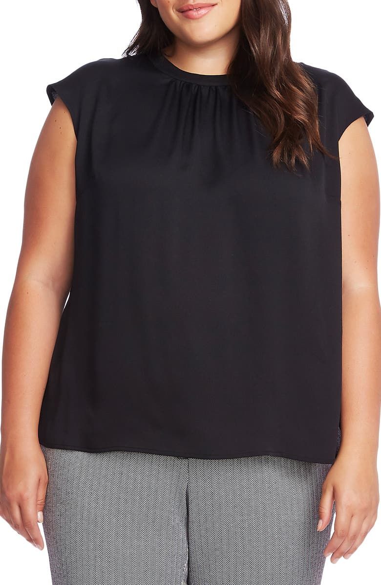 VINCE CAMUTO Cap Sleeve Satin Top, Main, color, RICH BLACK
