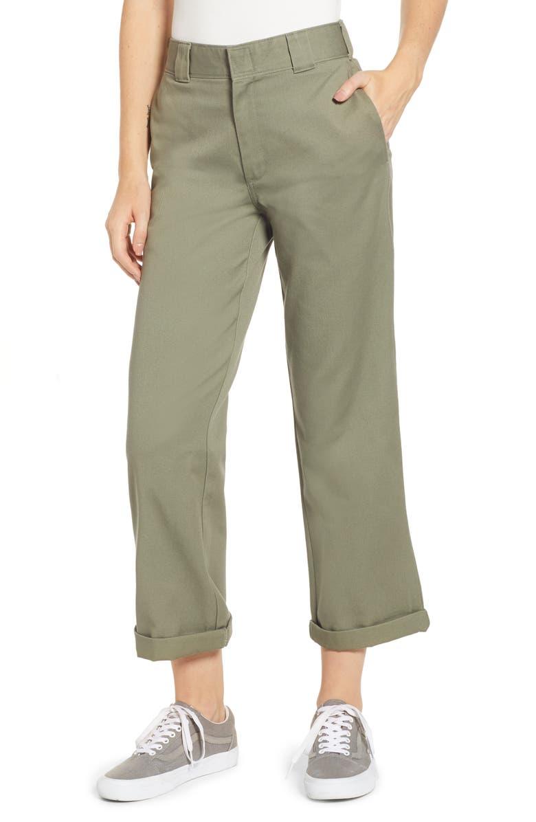 DICKIES Crop Work Pants, Main, color, OLIVE