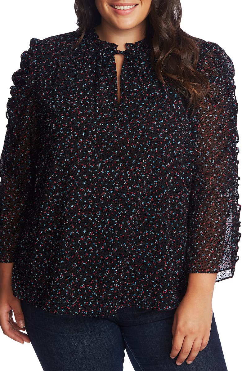 CECE Wistful Blooms Ruffled Blouse, Main, color, RICH BLACK