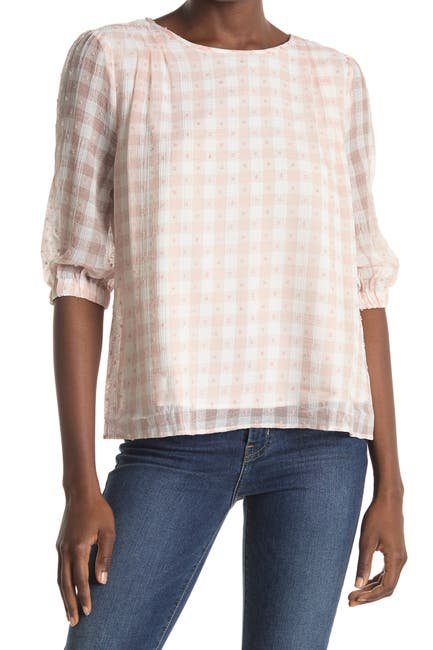 Image of MELLODAY Pintuck Patterned Woven Blouse