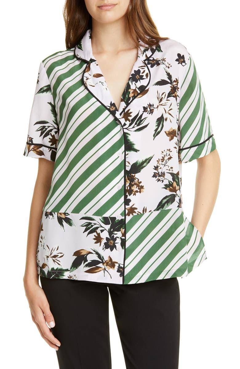 DVF Iman Stripe & Floral Print Silk Shirt, Main, color, CARIBBEAN FLORL LAVNDER FOG