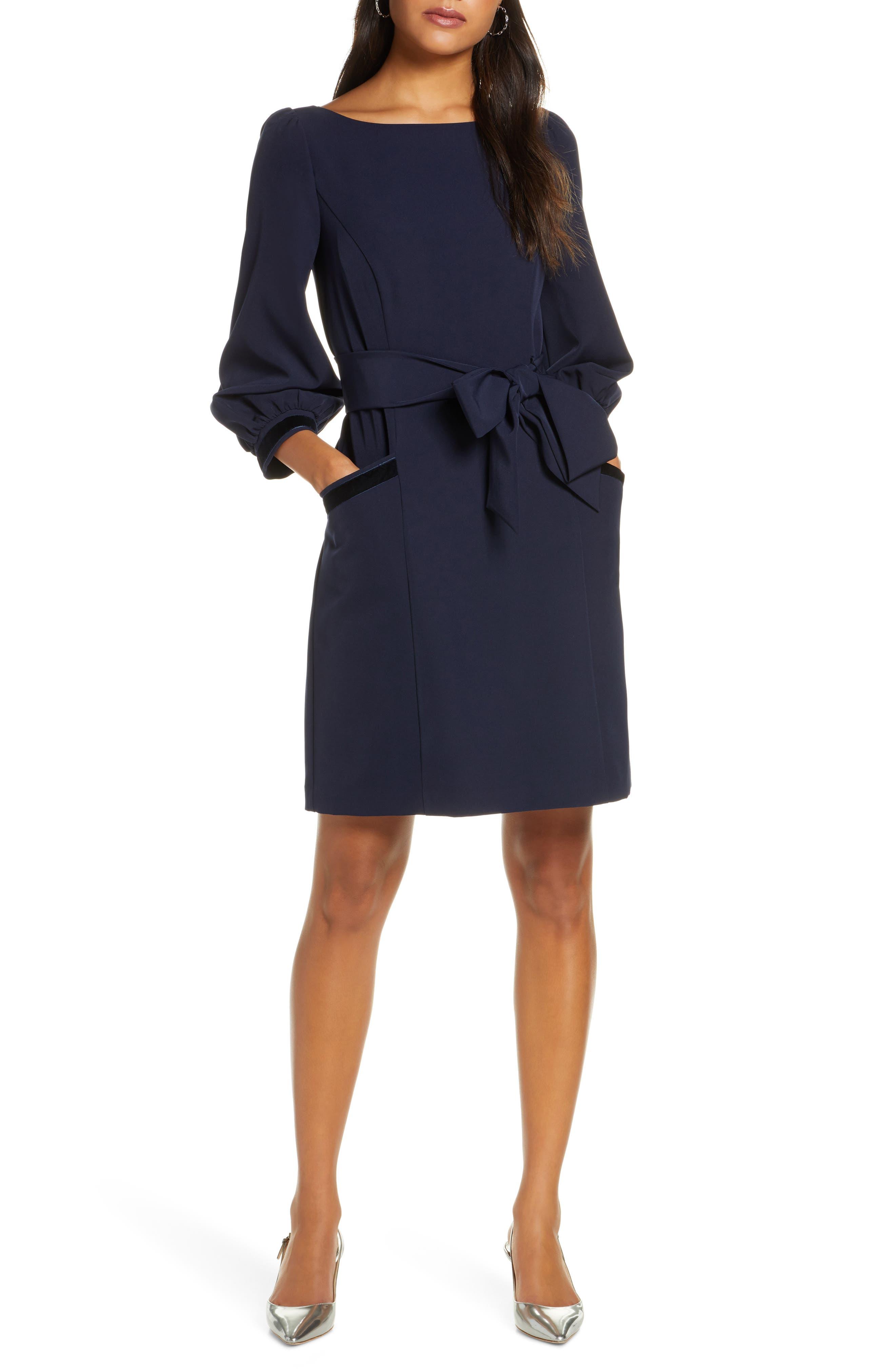 1901 Velvet Trim Belted Dress