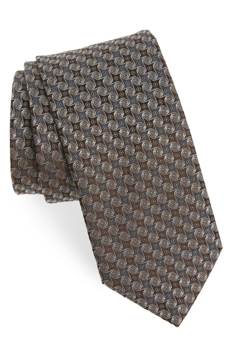ETON Geometric Silk Tie, Main, color, BROWN