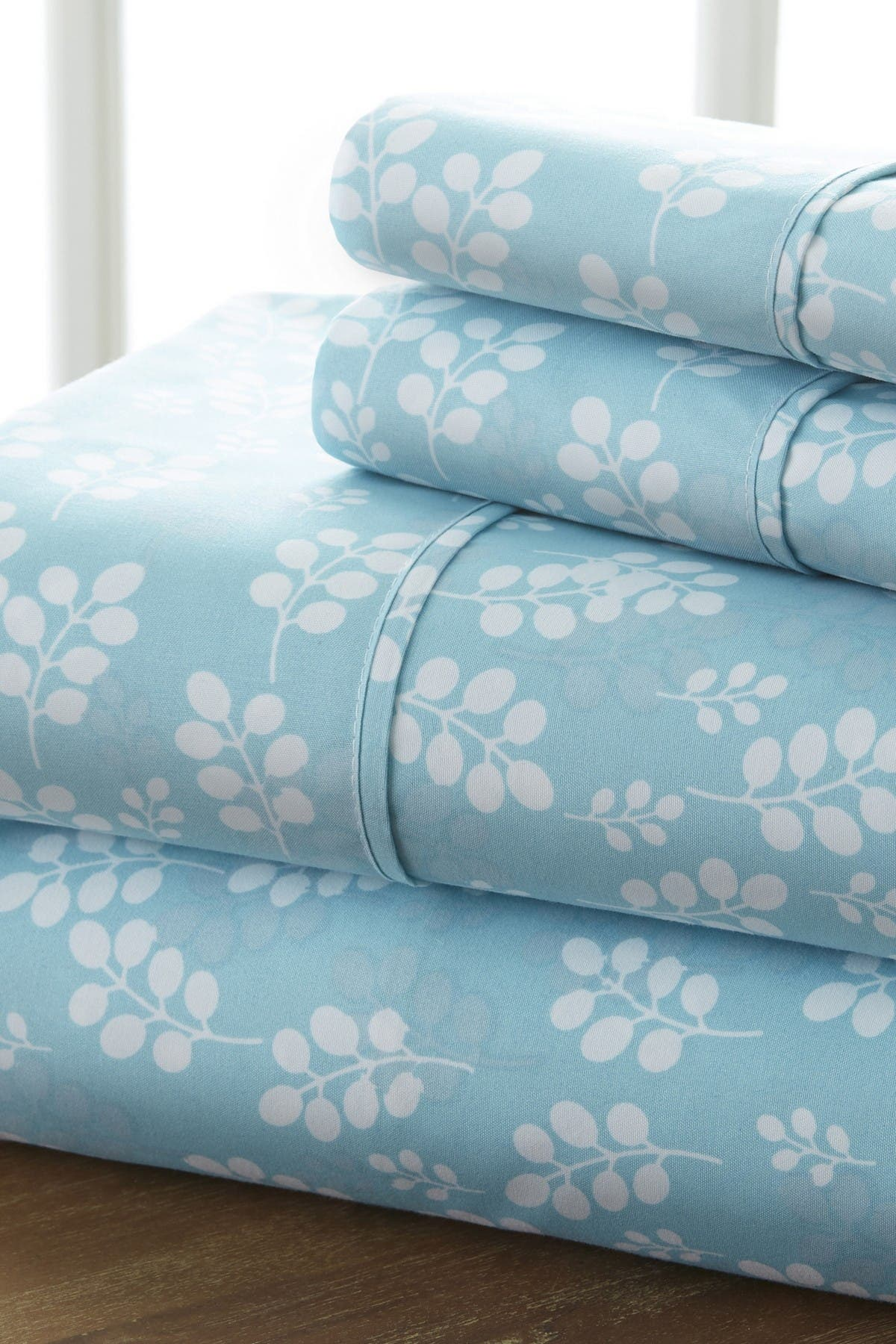 Image of IENJOY HOME Home Spun Premium Ultra Soft Wheat Pattern 4-Piece Full Bed Sheet Set - Pale Blue