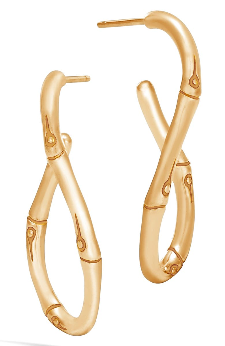 JOHN HARDY Bamboo Medium Twisted Hoop Earrings, Main, color, GOLD