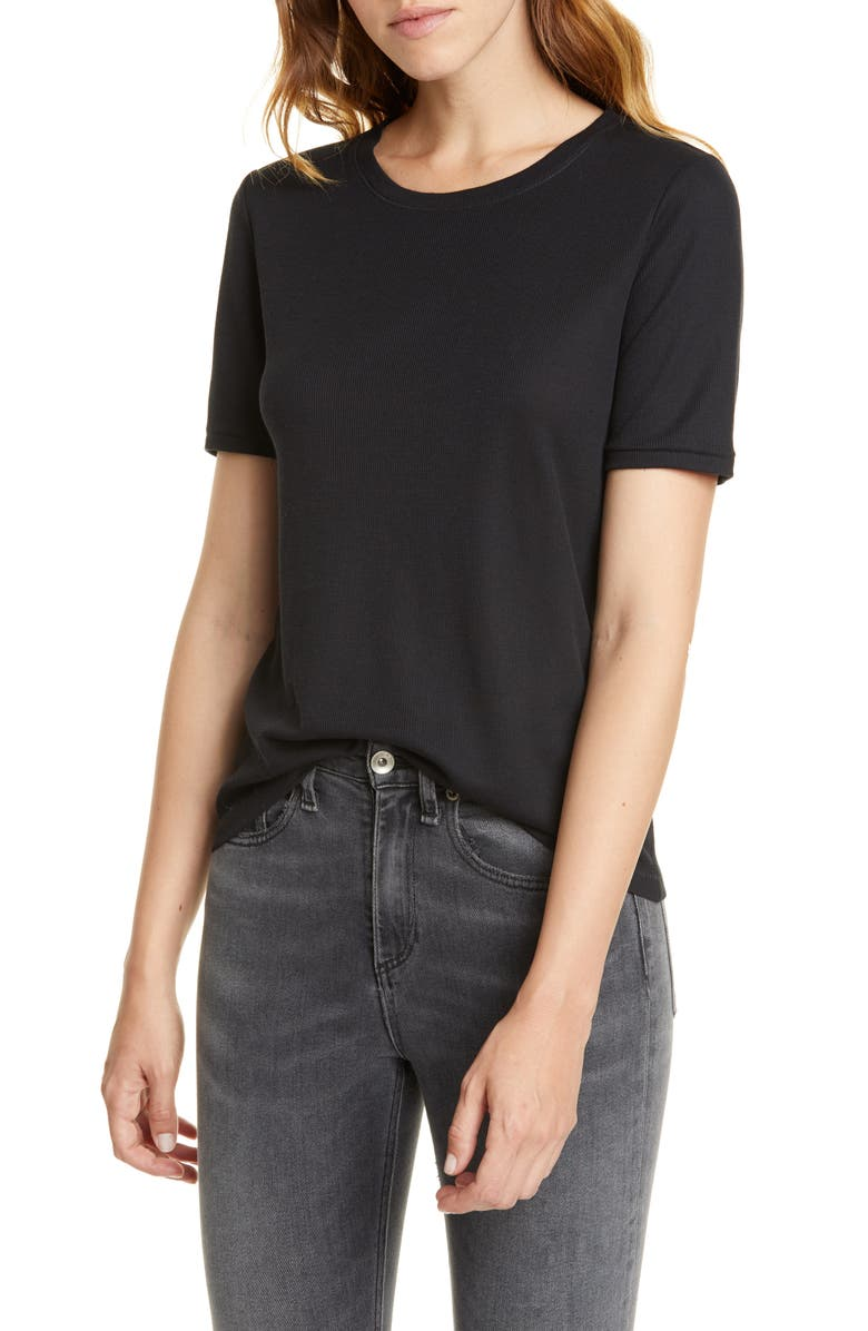 RAG & BONE Kari Ribbed Tee, Main, color, BLACK