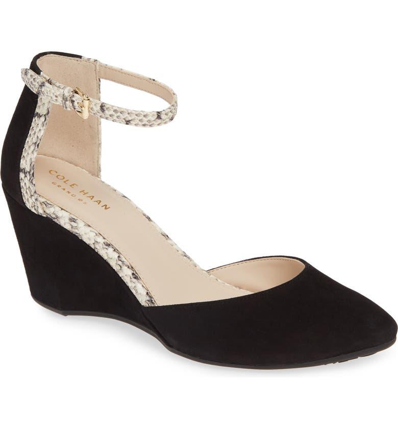 COLE HAAN Lara Ankle Strap Pump, Main, color, BLACK SUEDE
