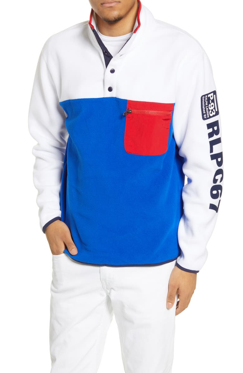 POLO RALPH LAUREN Colorblock Fleece Pullover, Main, color, 100