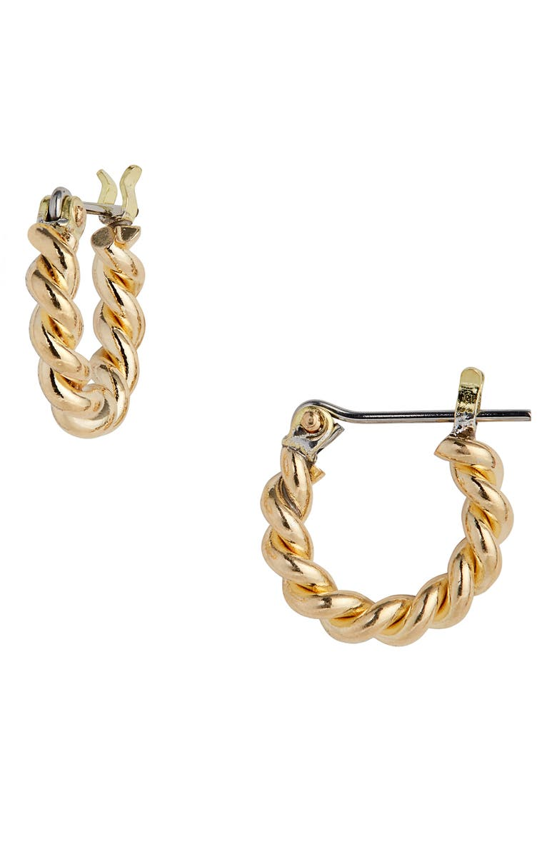 LAURA LOMBARDI Mini Twist Hoop Earrings, Main, color, BRASS
