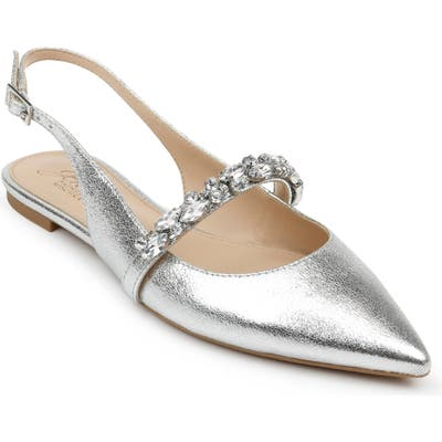 Jewel Badgley Mischka Bambi Slingback Skimmer Flat, Metallic