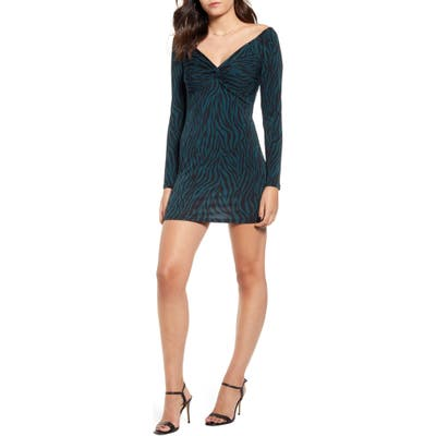 All In Favor Twist Front Long Sleeve Body-Con Minidress, Green