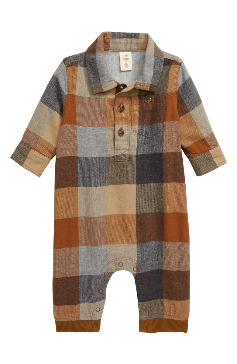 TUCKER + TATE Woodlands Romper, Main, color, BROWN RUBBER WEEKEND PLAID