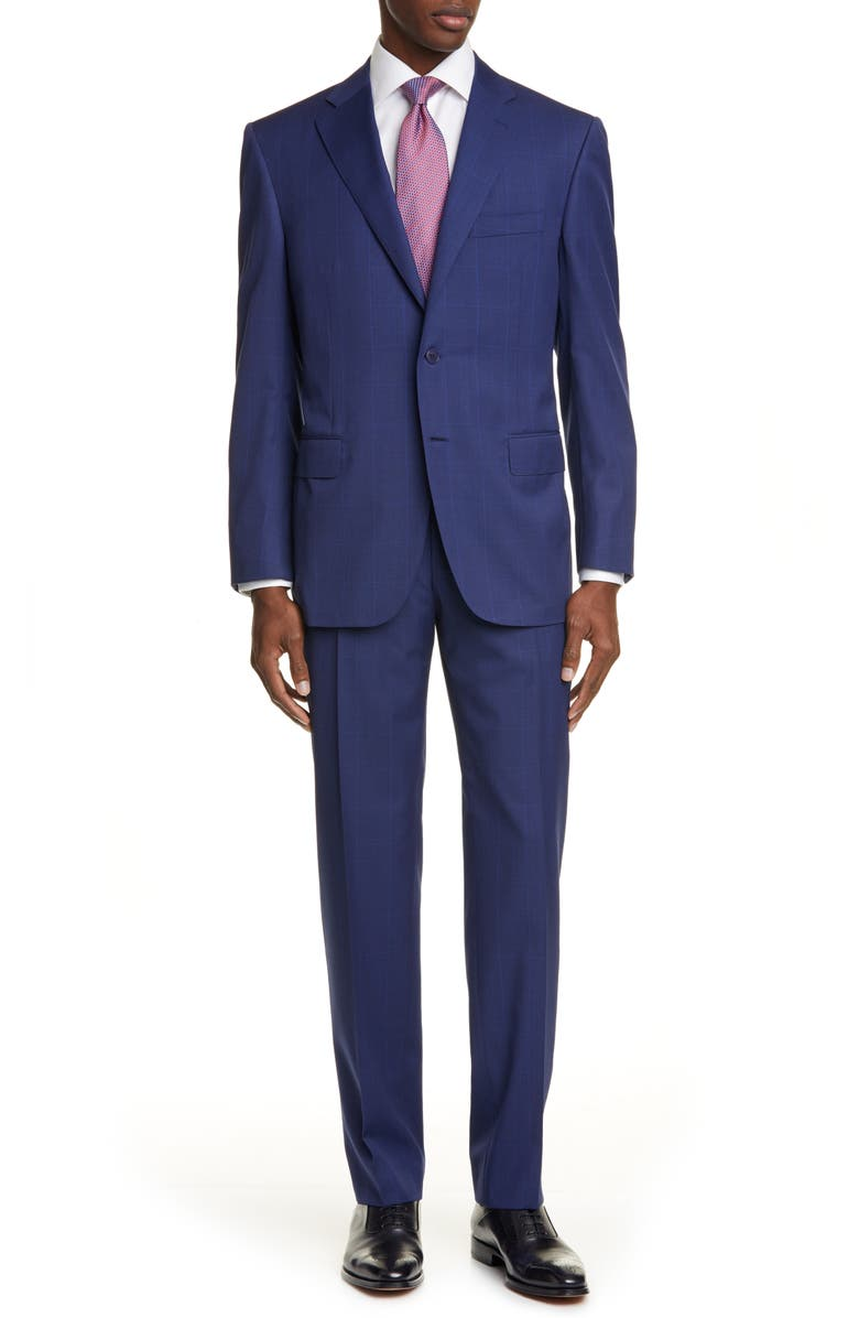 CANALI Sienna Soft Windowpane Classic Fit Wool Suit, Main, color, BLUE