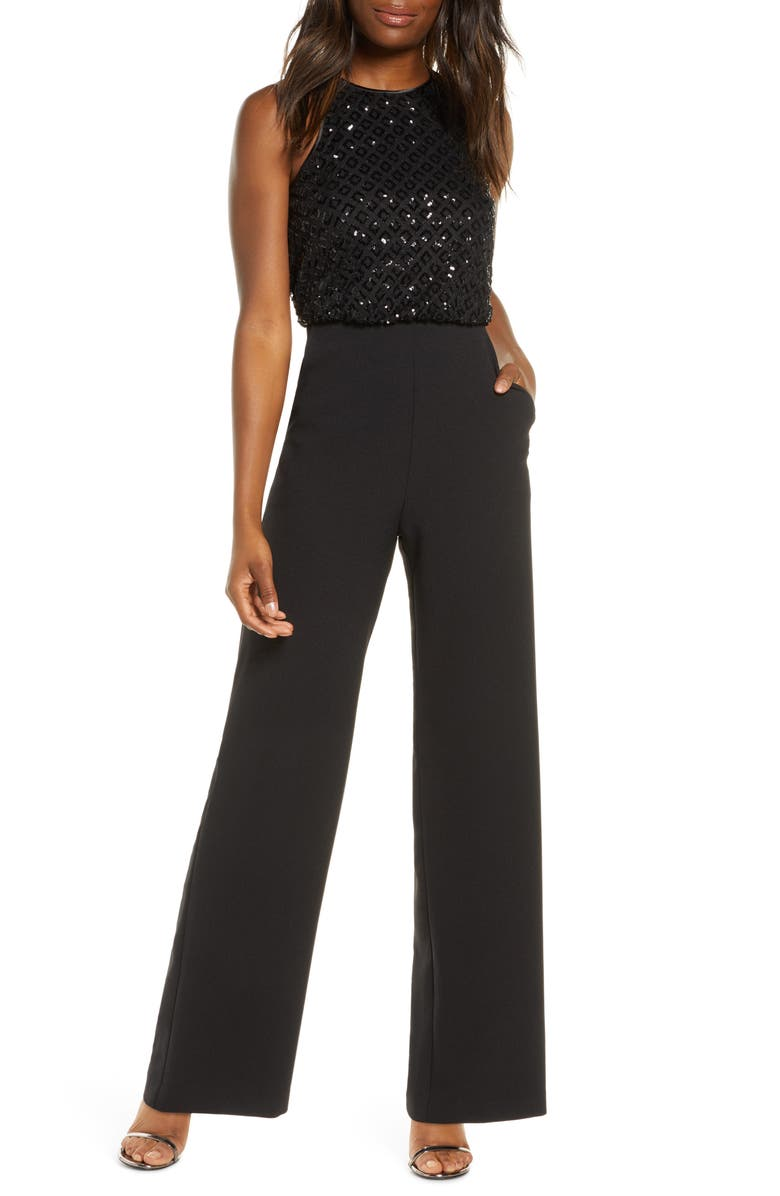ELIZA J Sequin Bodice Jumpsuit, Main, color, BLACK