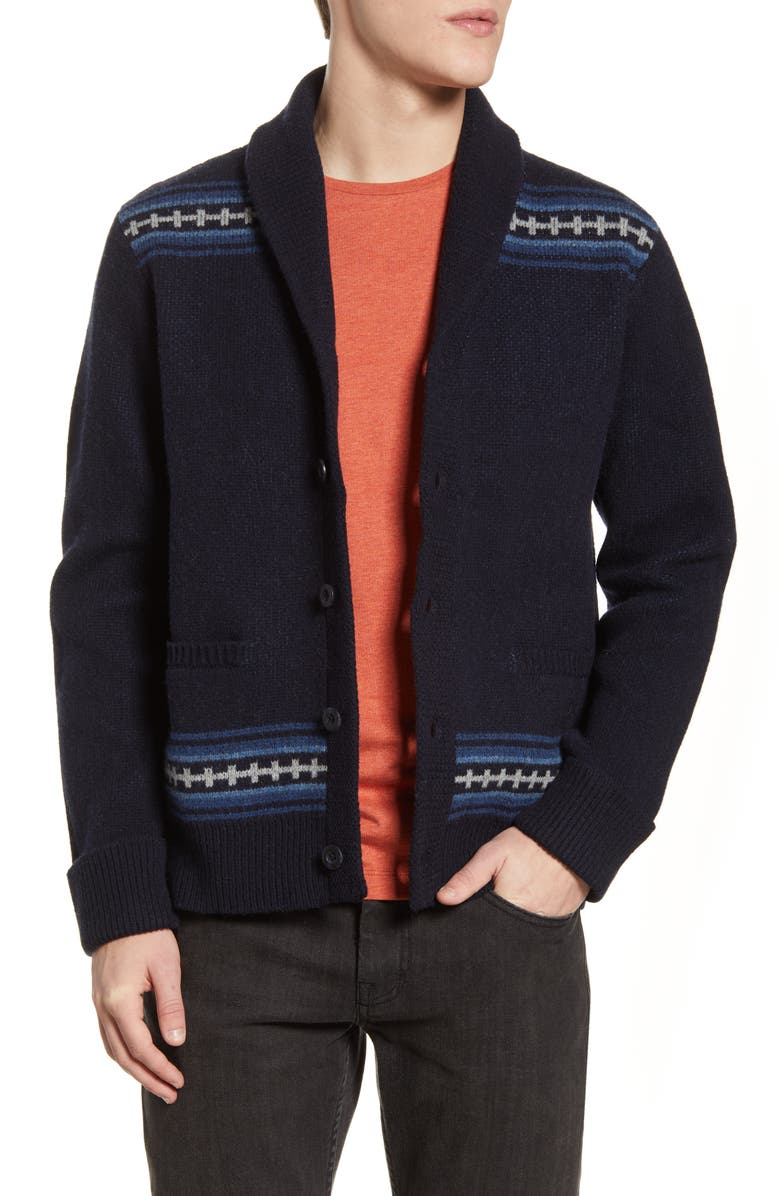 PENDLETON Magic Valley Wool Cardigan Sweater, Main, color, NAVY DIAMOND