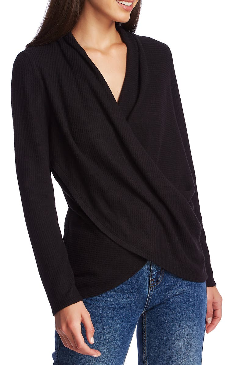 1.STATE Waffle Knit Cross Front Top, Main, color, RICH BLACK