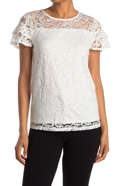 Image of Adrianna Papell Stretch Lace Paisley Short Sleeve Top