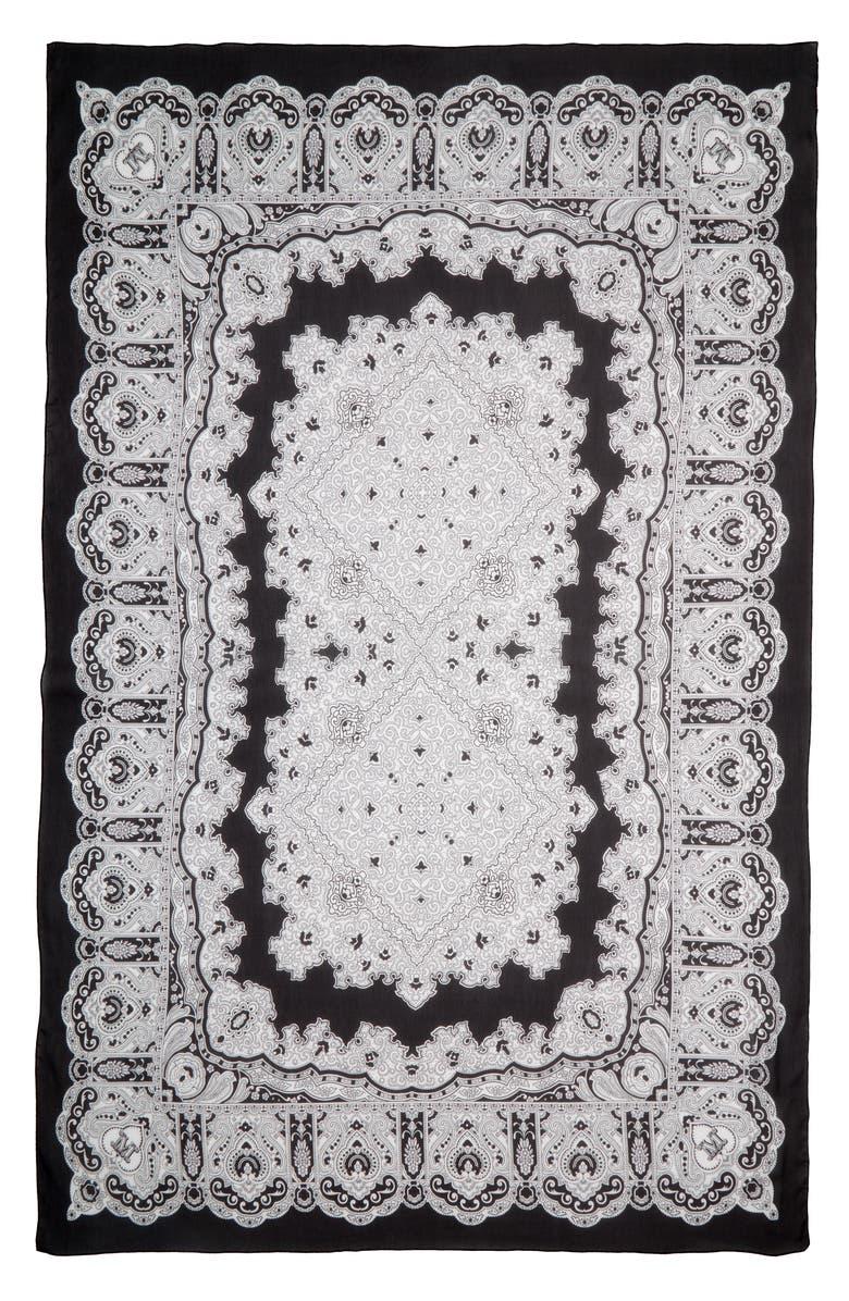MAX MARA Gerbera Silk Scarf, Main, color, BLACK