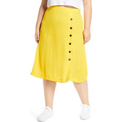 Plus Size Bp. Floral Side Button Midi Skirt, Yellow