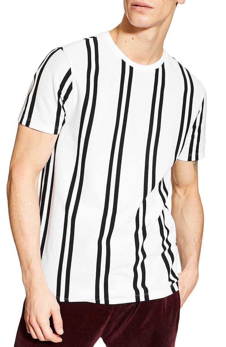 TOPMAN Luke Stripe Classic T-Shirt, Main, color, WHITE MULTI