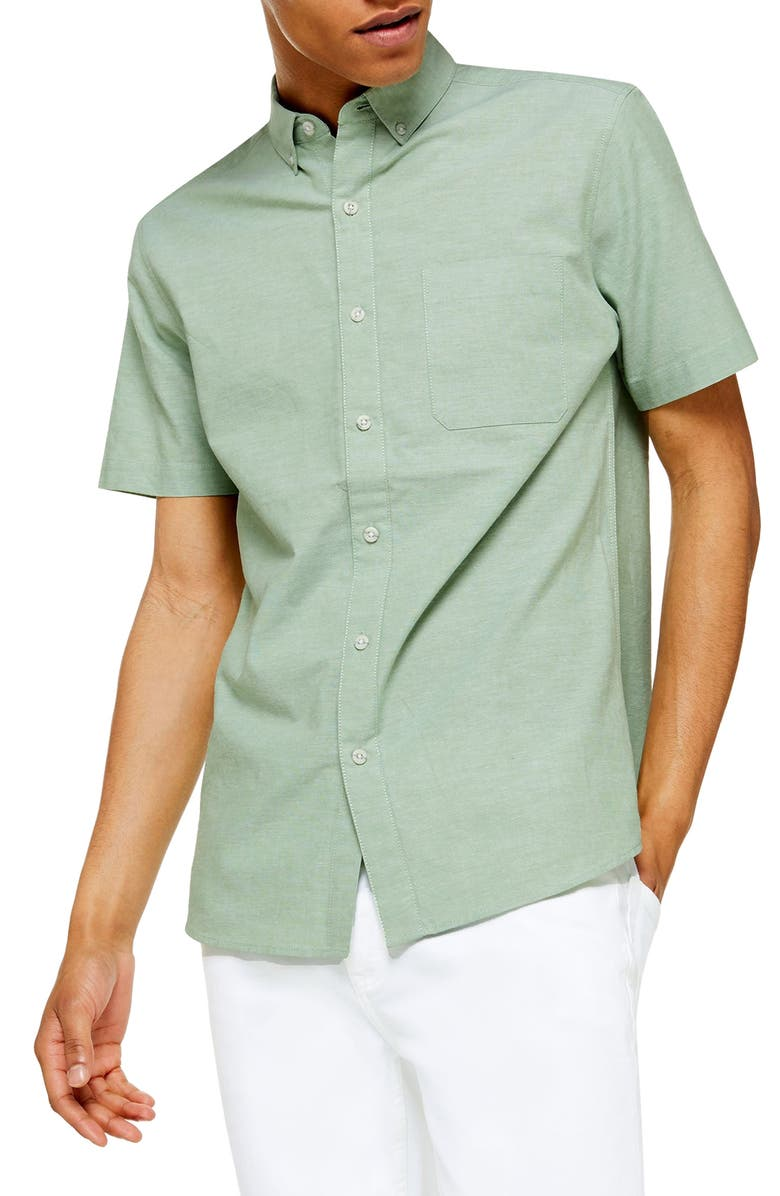 TOPMAN Stretch Skinny Fit Oxford Shirt, Main, color, OLIVE