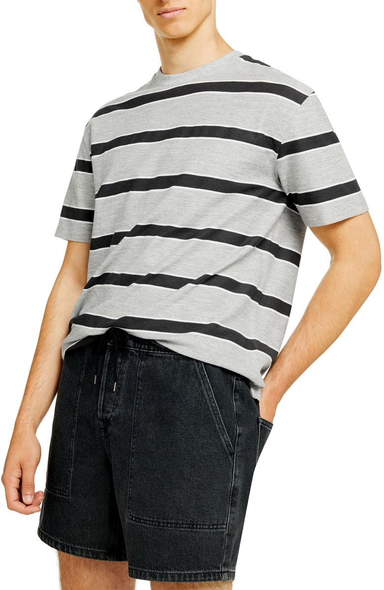 TOPMAN Oversize Stripe Loopback T-Shirt, Main, color, GREY MULTI