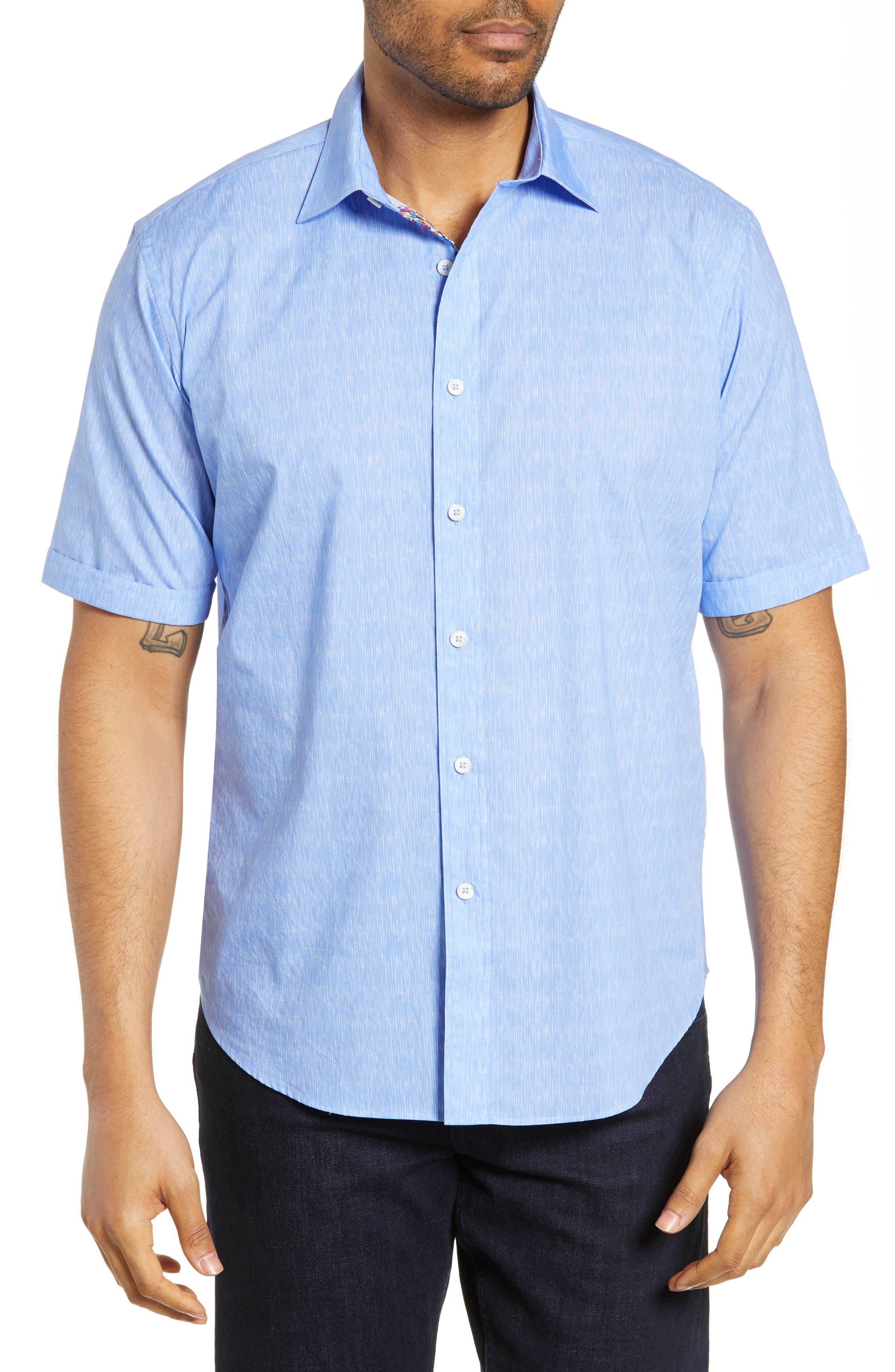 men's bugatchi classic fit line print shirt, size x-large - blue