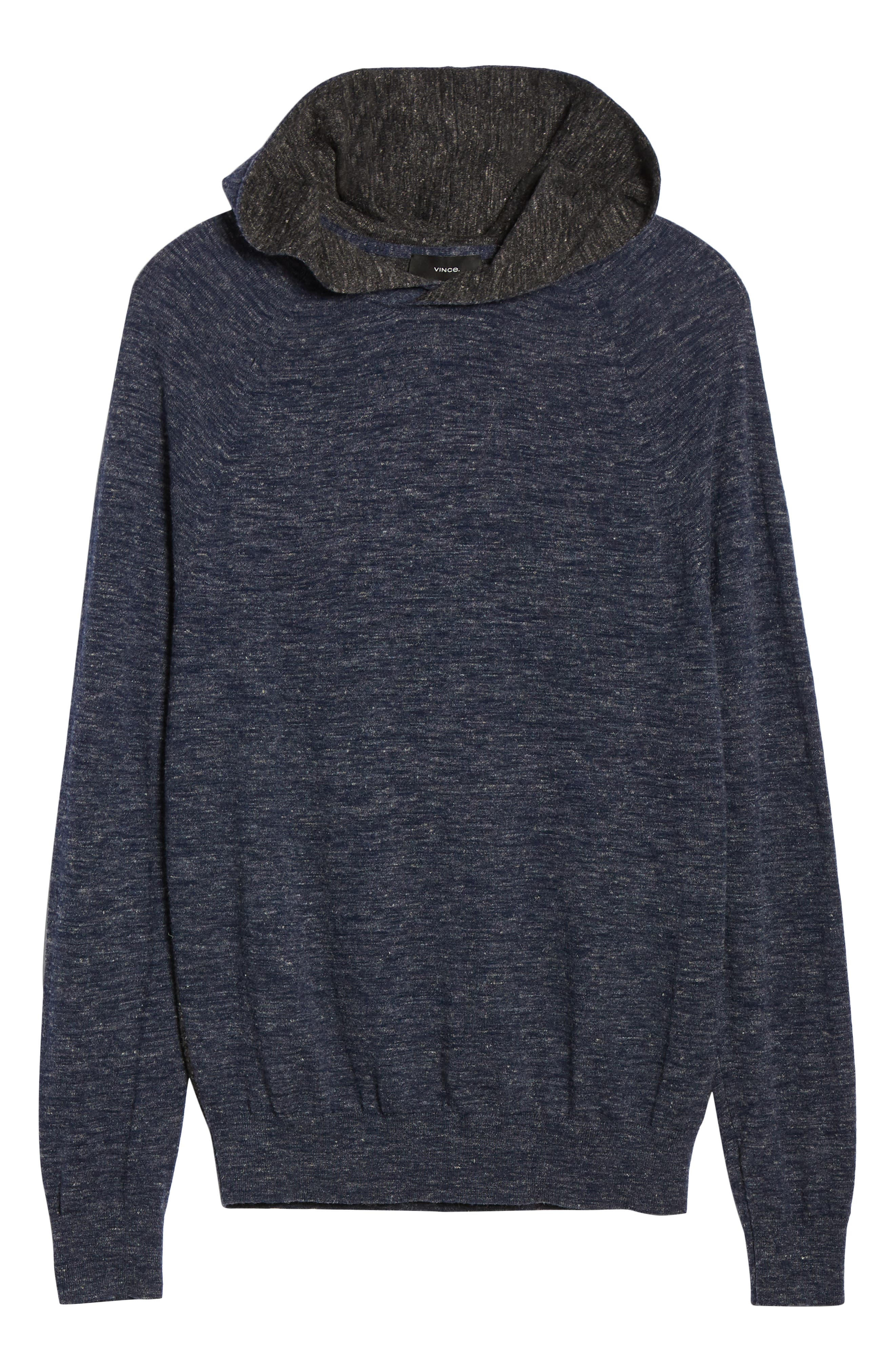 ,                             Colorblock Wool & Linen Pullover Hoodie,                             Alternate thumbnail 6, color,                             COASTAL