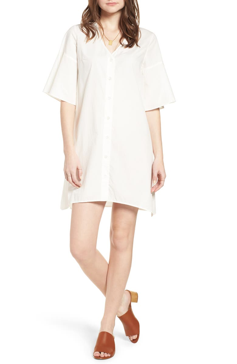 MADEWELL Bell Sleeve Shift Dress, Main, color, 100
