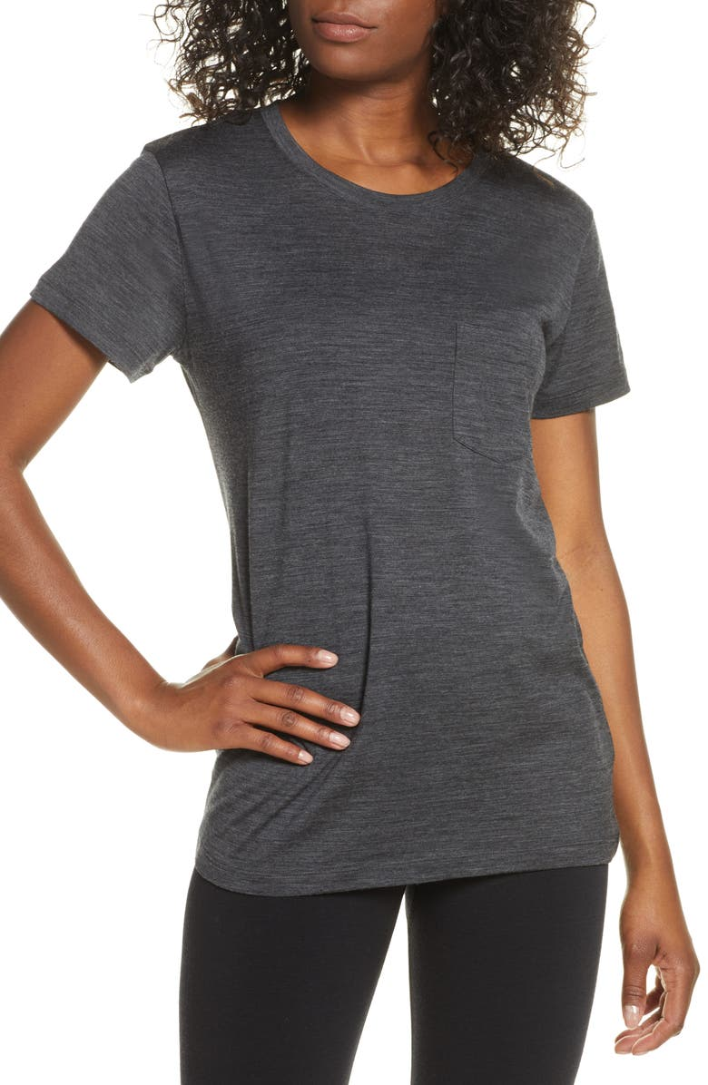 ICEBREAKER Ravyn Merino Wool Blend Pocket T-Shirt, Main, color, JET HTHR