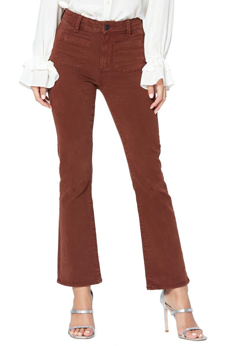 PAIGE Claudine High Waist Patch Pocket Stretch Cotton Pants, Main, color, 200