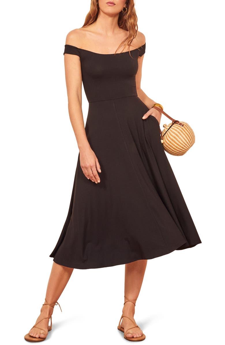 REFORMATION Marci Off the Shoulder Fit & Flare Dress, Main, color, BLACK