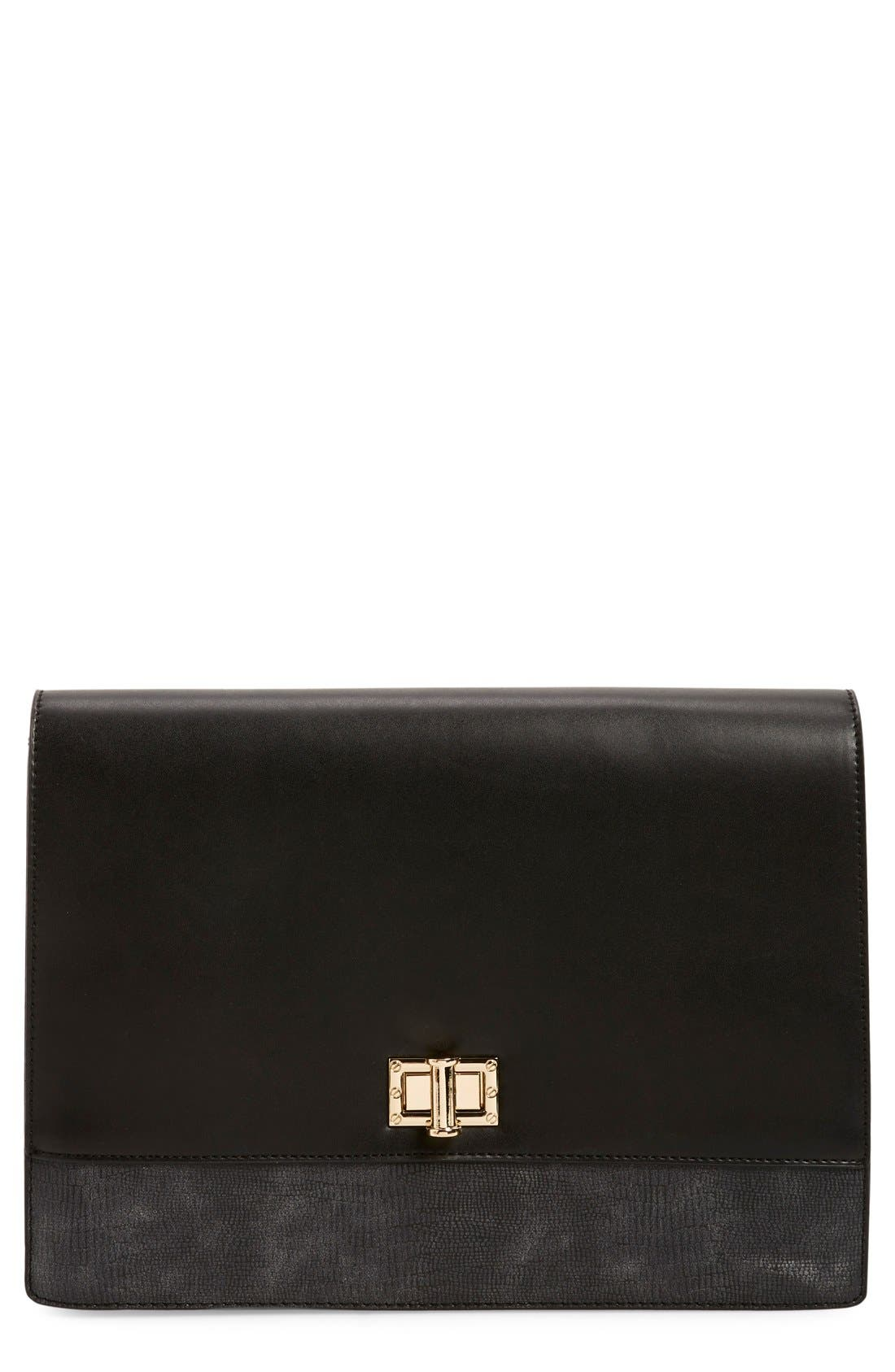 'Exotic' Boxy Flap Clutch, Main, color, 010