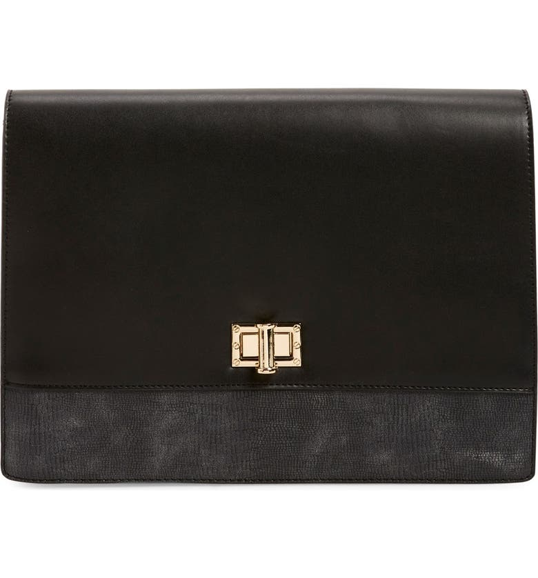 SOLE SOCIETY 'Exotic' Boxy Flap Clutch, Main, color, 010
