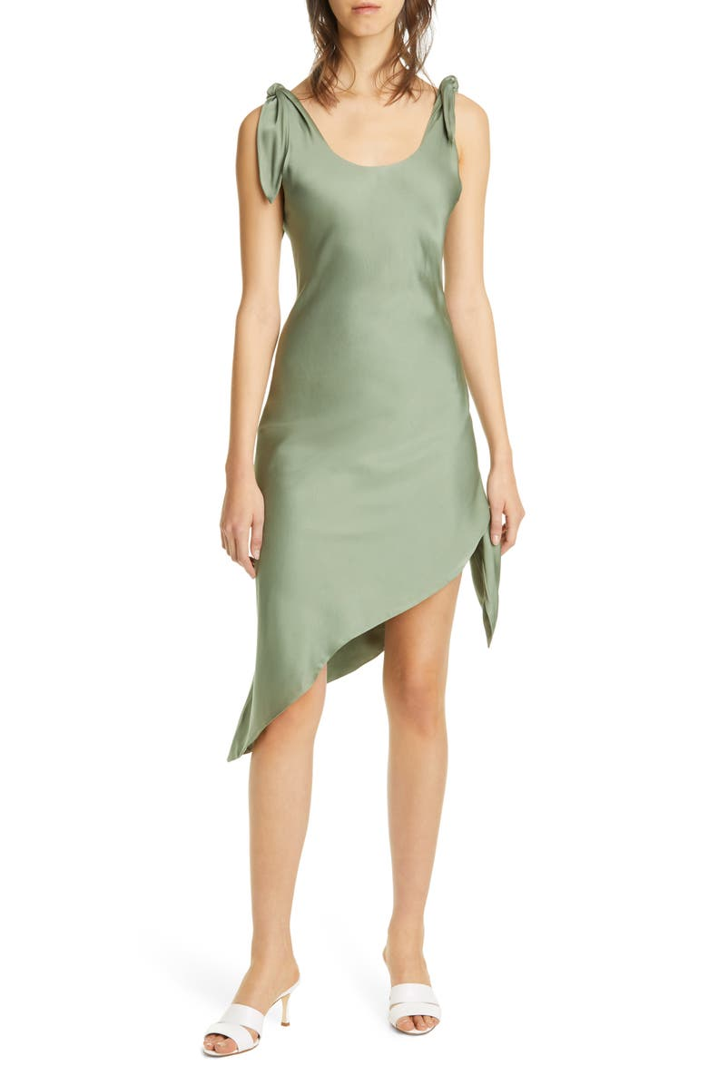 CULT GAIA Delilah Asymmetrical Cotton & Linen Dress, Main, color, SSP SEASPRAY