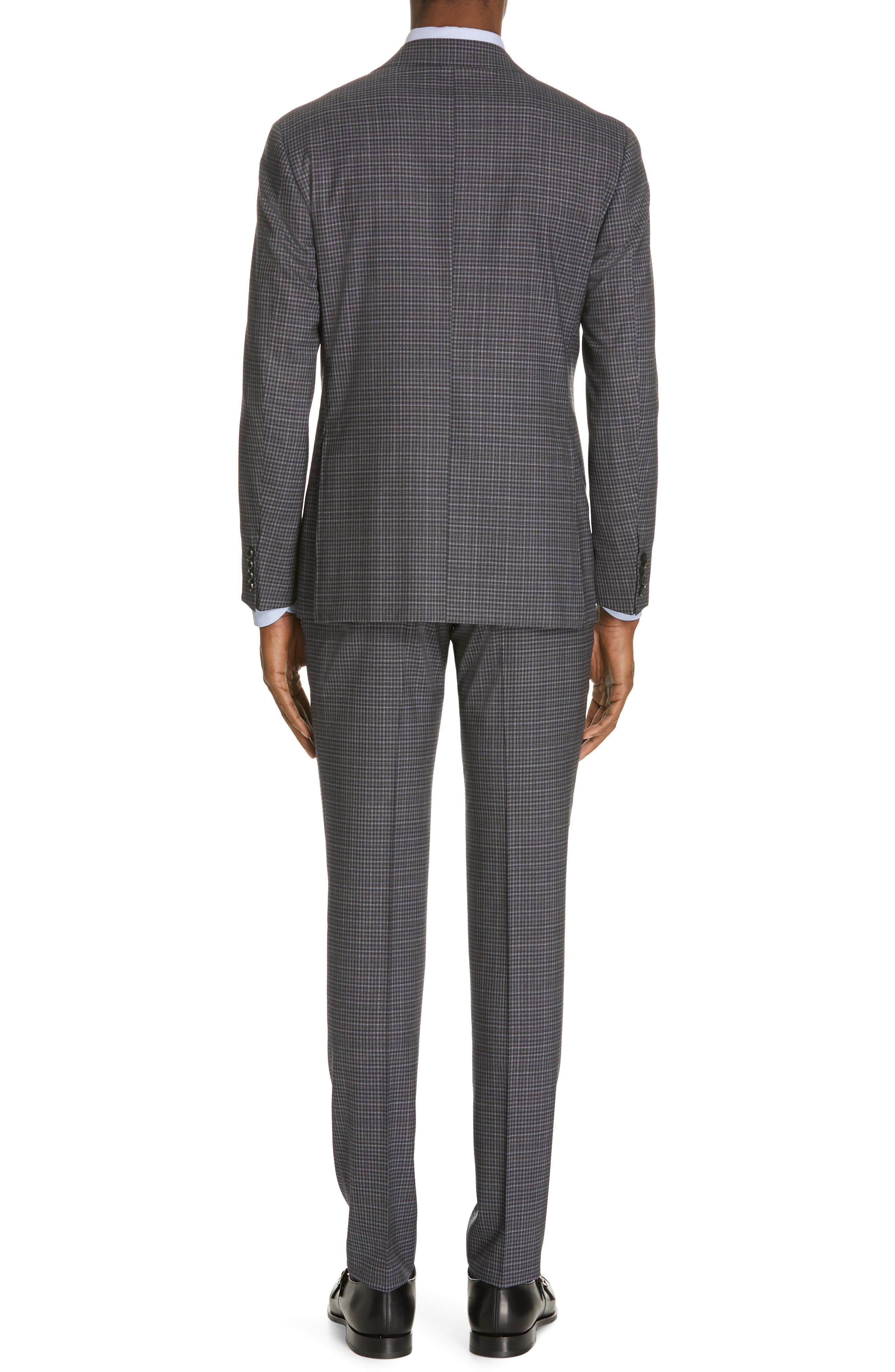 ,                             Milano Trim Fit Check Wool Suit,                             Alternate thumbnail 2, color,                             CHARCOAL