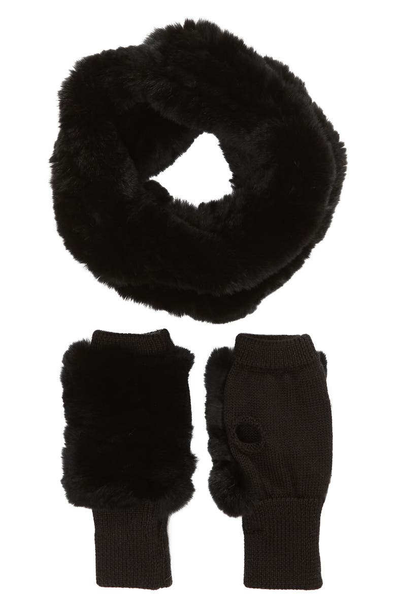 JOCELYN Genuine Rabbit Fur Cowl & Mitten Set, Main, color, 002