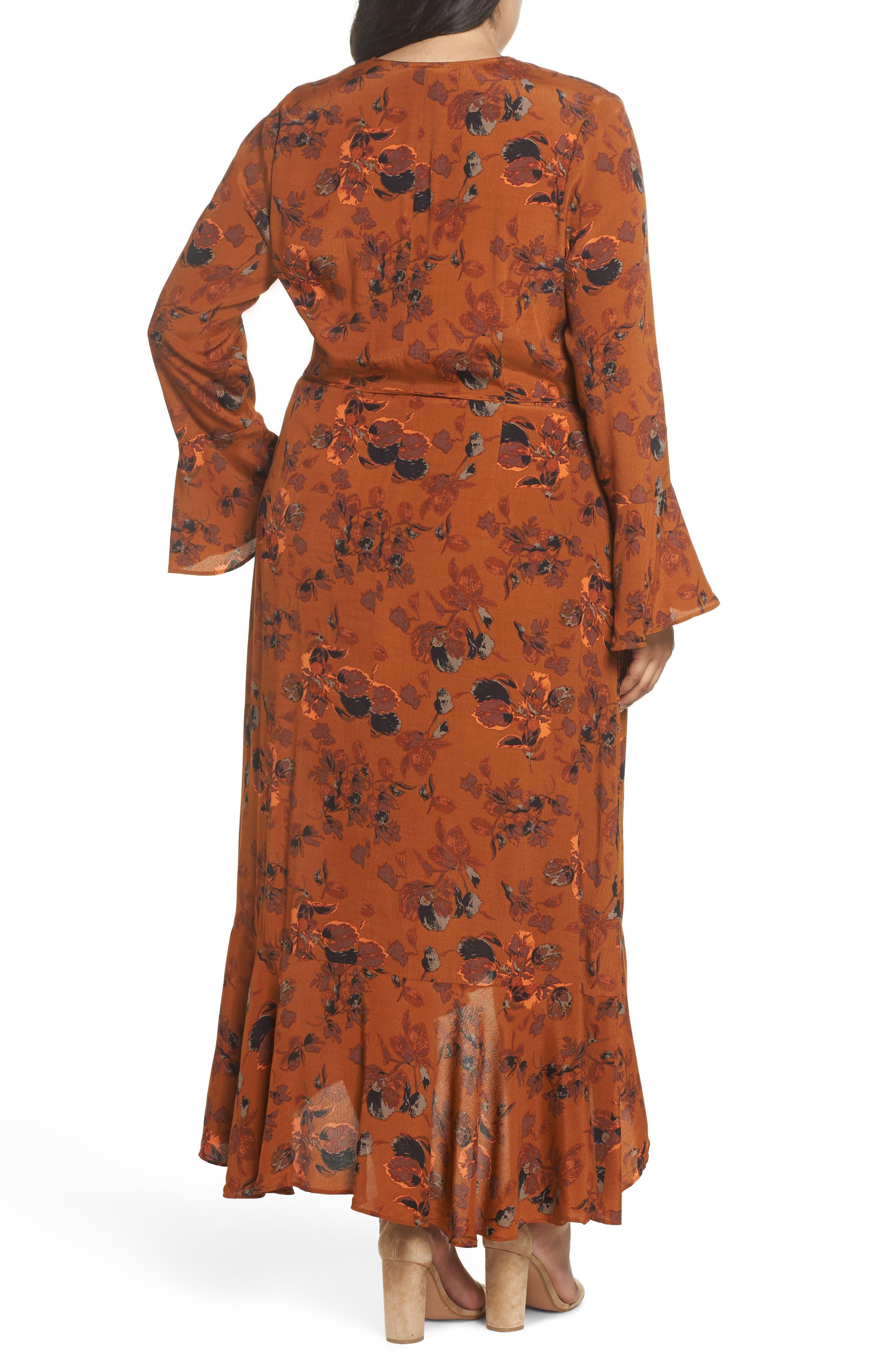 ,                             Bell Sleeve Wrap Midi Dress,                             Alternate thumbnail 5, color,                             RUST CARMEL FALL FOLIAGE