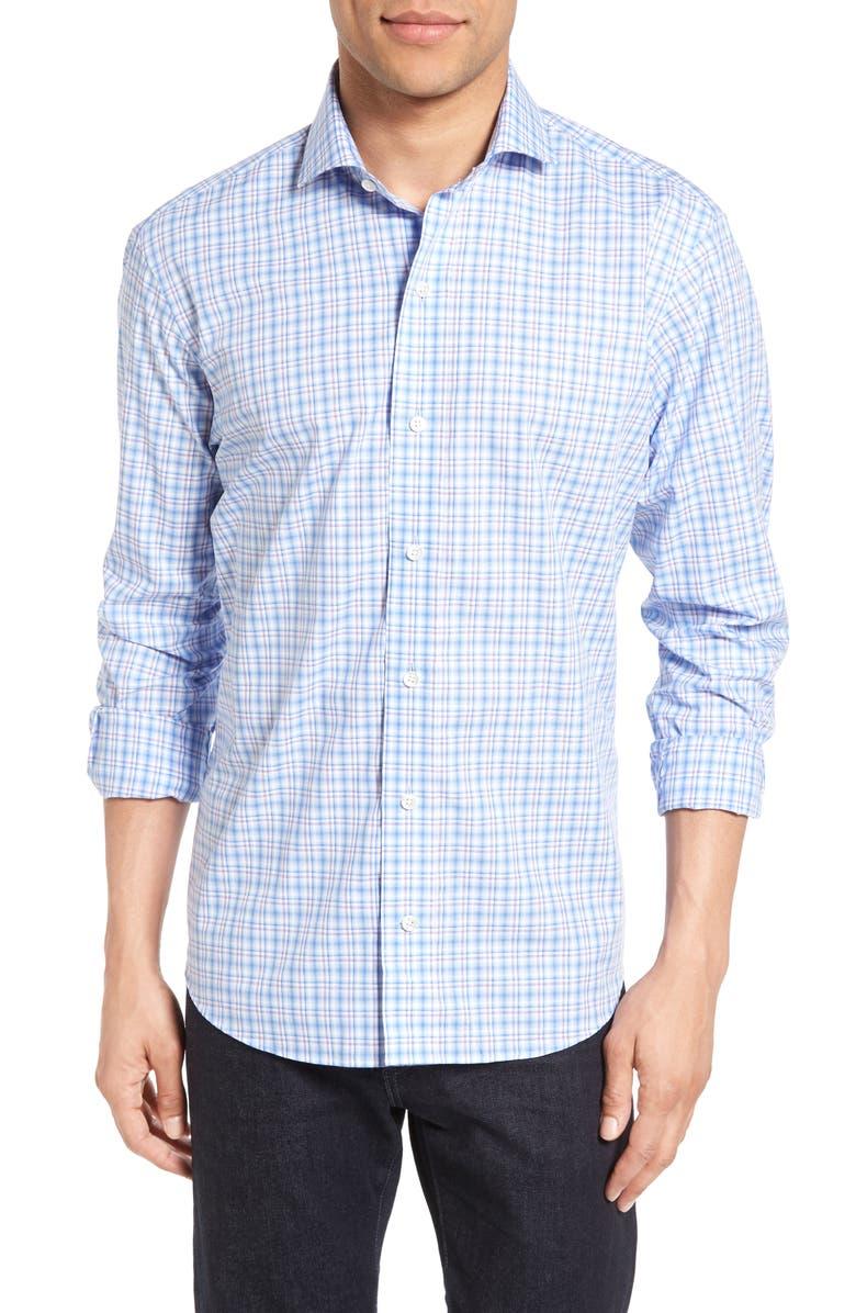 LEDBURY The Colfax Classic Fit Plaid Sport Shirt, Main, color, 450