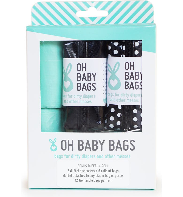 OH BABY BAGS Portable Clip-On Dispenser & Bag Set, Main, color, BLACK