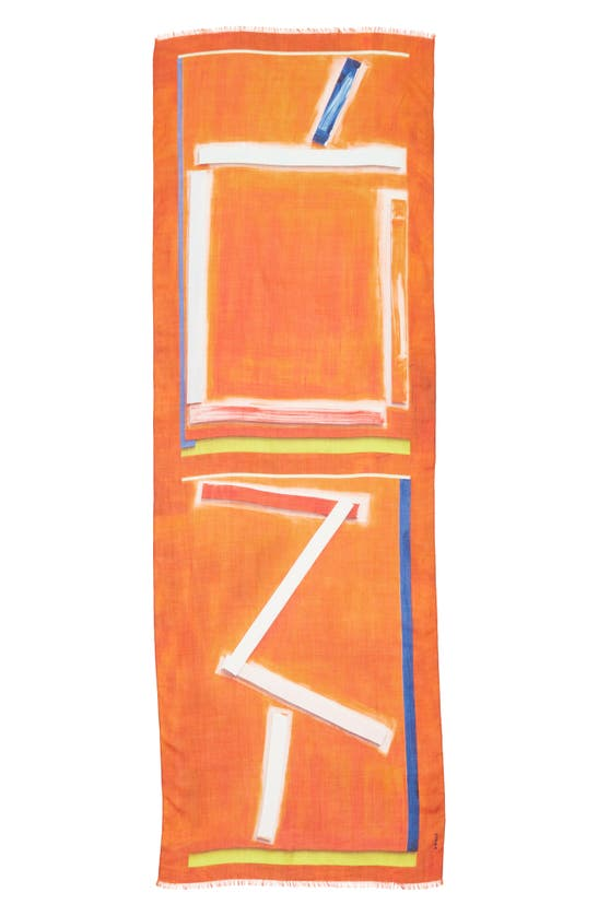 Akris Zion Print Cashmere & Silk Scarf In 062-pure Orange