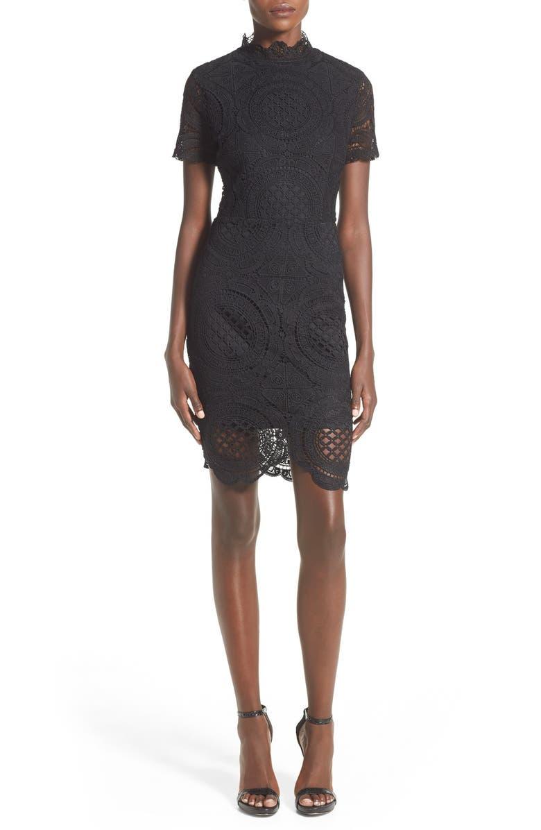 MISSGUIDED Crochet Mock Neck Sheath Dress, Main, color, 001