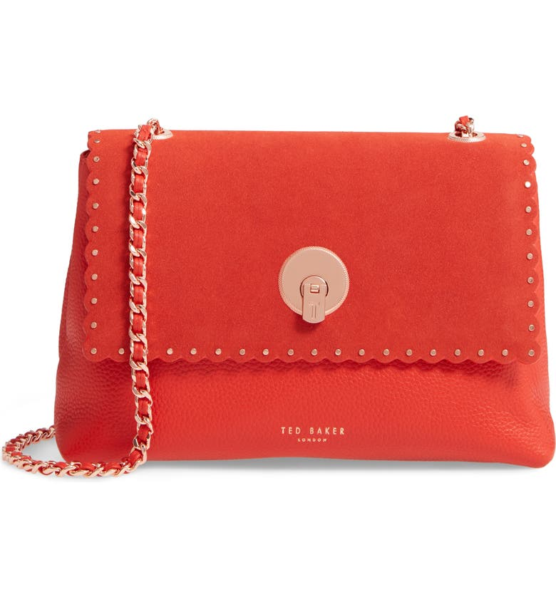 TED BAKER LONDON Sultane Studded Circle Lock Leather & Suede Bag, Main, color, 604