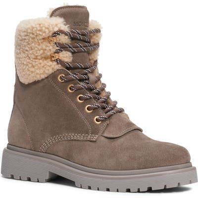 Moncler Patty Genuine Shearling Trim Boot, Beige