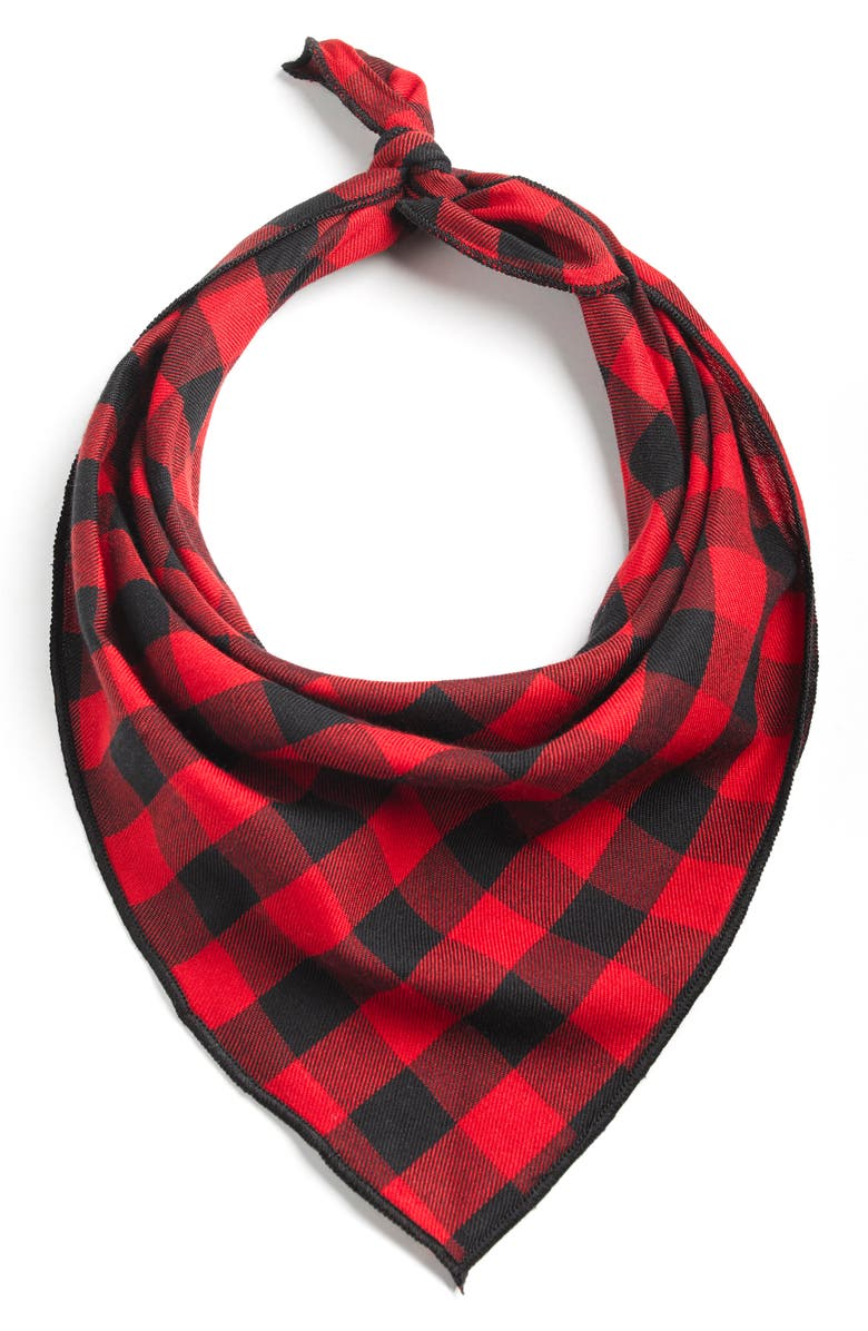 LOVETHYBEAST Buffalo Plaid Cotton Bandana, Main, color, RED/ BLACK