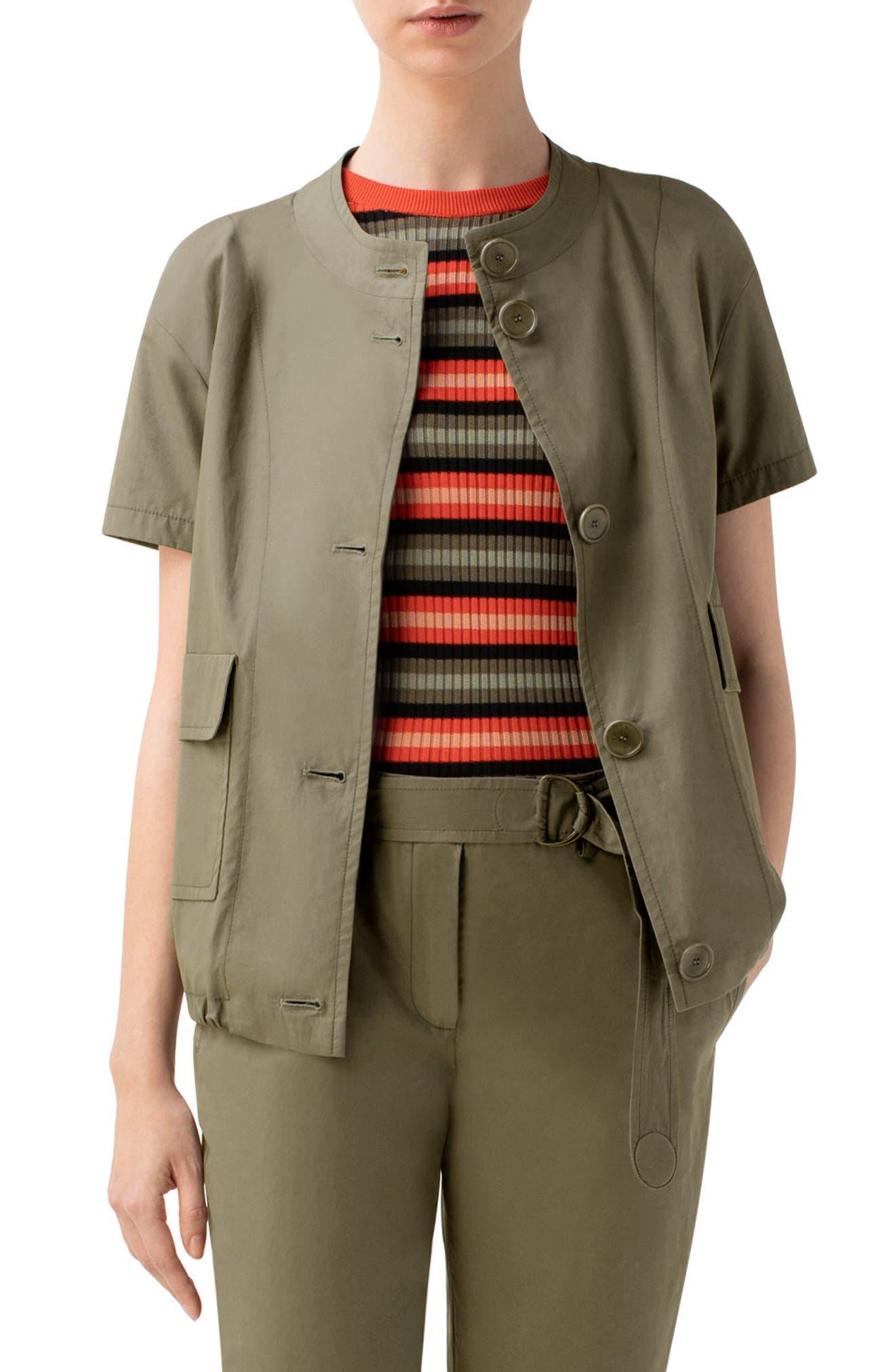 Image of Akris punto Short Sleeve Cotton Jacket