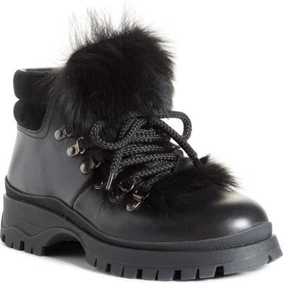 Prada Genuine Shearling Trim Hiking Boot, Black